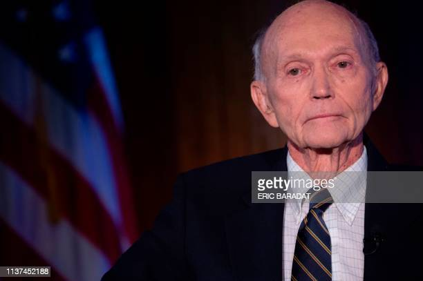 US Apollo 11 astronaut Michael Collins is seen at the National Press Club in Washington DC to discuss the impact of his historic mission to the moon...