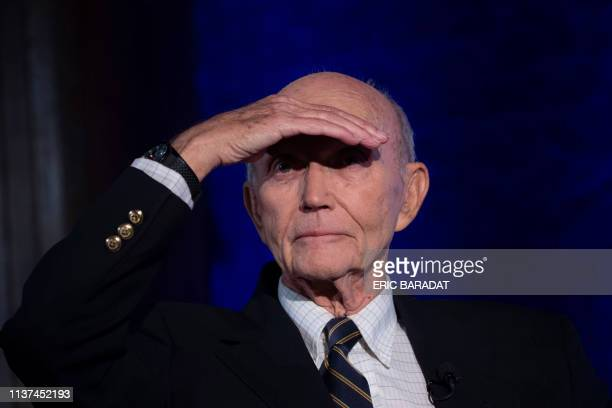 Apollo 11 astronaut Michael Collins is seen at the National Press Club in Washington DC to discuss the impact of his historic mission to the moon on...