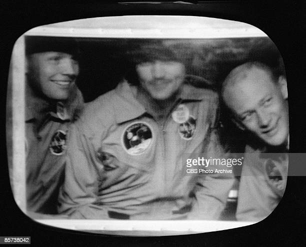 Apollo 11 Astronauts Neil Alden Armstrong Michael Collins Edwin E Aldrin Jr in quarantine after walking on the moon due to fears of unknown pathogens...