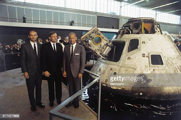 Apollo 11 astronauts visiting Amsterdam on their global good will tour at and next to apollo 8 capsule at space exhibit here October 9th Left to...