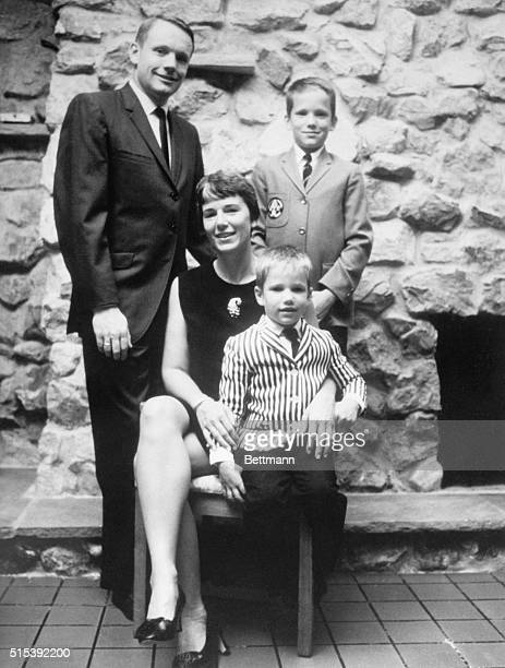 Apollo 11 commander Neil Armstrong poses with his wife Jean and their sons Eric and Mark in their home Armstrong will become the first man to walk on...