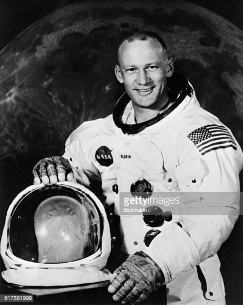 Apollo 11 Lunar Module Pilot Buzz Aldrin poses for a photograph