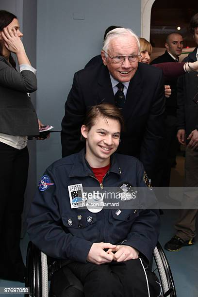 Apollo 11 mission commander Neil Armstrong attends the 'Legends of Aerospace' event at the Intrepid SeaAirSpace Museum on March 14 2010 in New York...