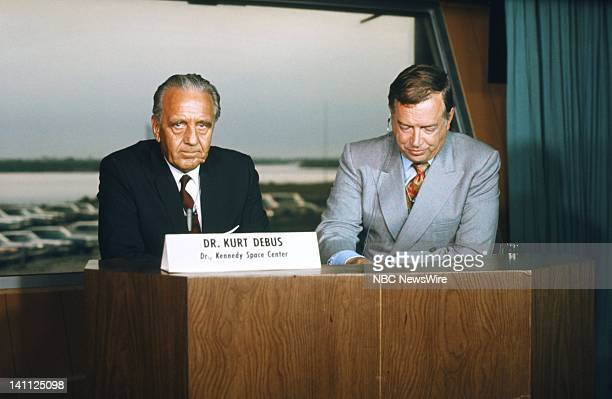 """Apollo 11"""" -- Pictured: Rocket scientist Dr. Kurt Delbus, NBC News' Hugh Downs covering the Apollo 11 space mission in July 1969 from Cape Kennedy,..."""
