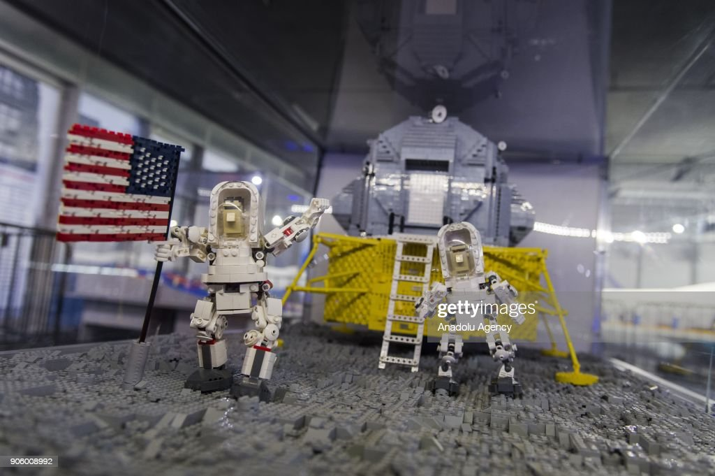 Apollo 11 Space Mission Made Of Lego Bricks Is Displayed During A