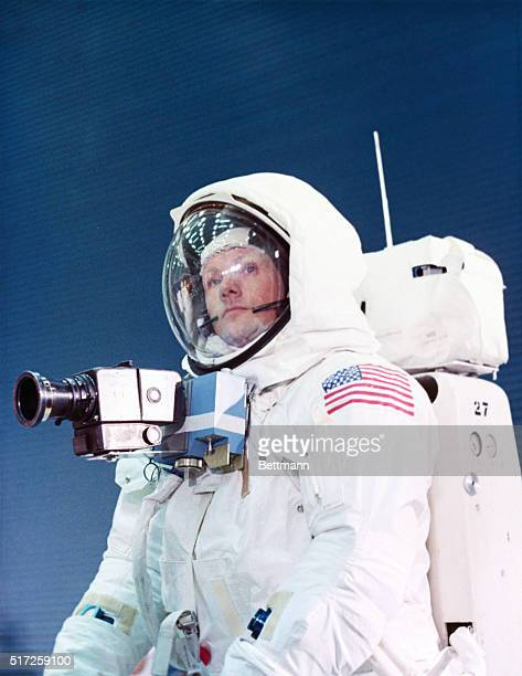 Apollo 11 Spacecraft Commander Neil Armstrong in the spacesuit as he will appear on the lunar surface A camera is attached to his chest area giving...