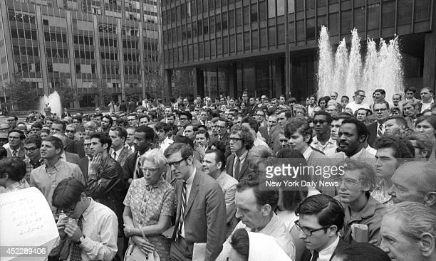 Apollo 11 Splashdown Hushed crowd watches on mobile TV setup at 53d St and Park Ave as moon men return Jack Smith/NY Daily News via Getty Images