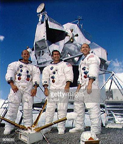 Apollo 12 astronauts left to right Charles P 'Pete' Conrad commander Richard F Gordon command module pilot and Alan L Bean lunar module pilot in this...