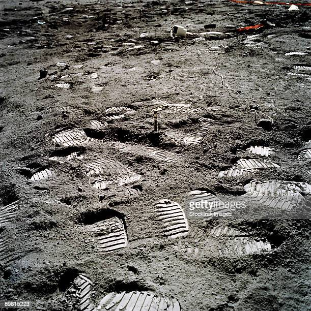 Apollo 17. Lunar foot prints on the moon.