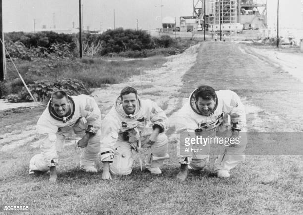Apollo 7 astronauts Walter Cunningham Donn Eisele and Walter Schirra at Cape Kennedy