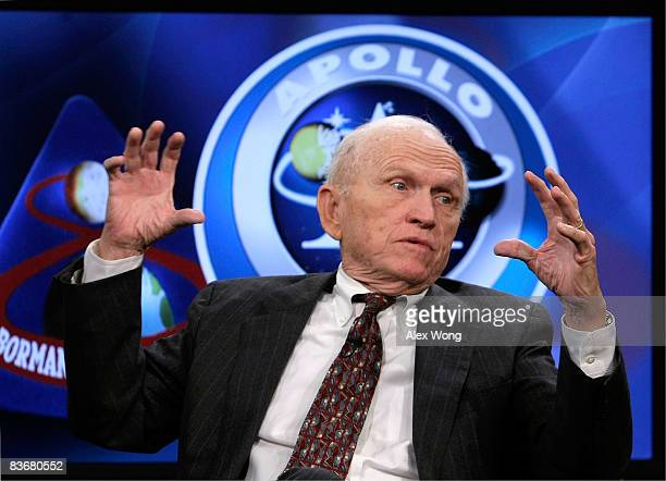 Apollo 8 crew member Frank Borman speaks during a live taping of a NASA TV program at the Newseum November 13 2008 in Washington DC The former...