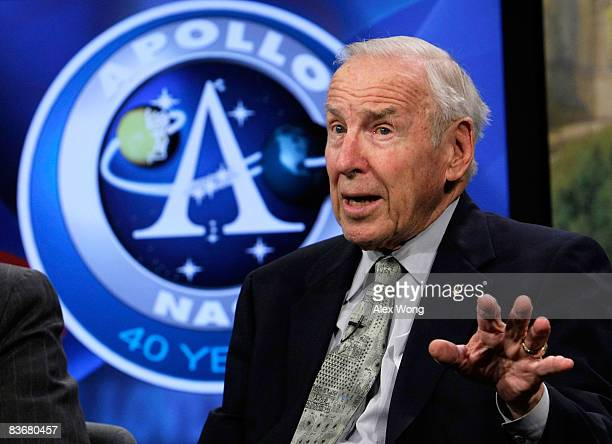 Apollo 8 crew member James Lovell speaks during a live taping of a NASA TV program at the Newseum November 13 2008 in Washington DC The former...