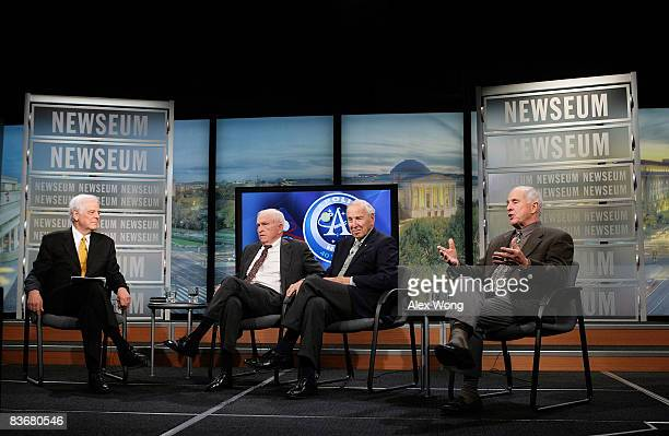 Apollo 8 Crew Members Frank Borman James Lovell and William Anders chat with Journalist in Residence at the Newseum Nick Clooney during a live taping...