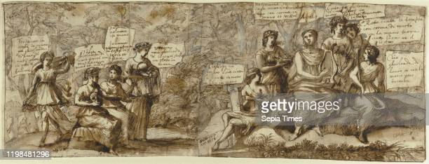 Apollo and the Muses Claude Lorrain France 1674 Pen and brown wash heightened with white gouache over black chalk 213 _ 581 cm
