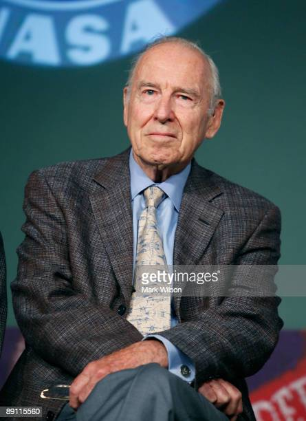 Apollo Astronaut James Lovell of Apollo 8 and Apollo 13 participates in a news conference at NASA Headquarters on July 20 2009 in Washington DC Today...