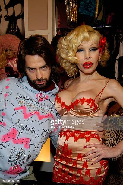 Apollo Braun and Amanda Lepore attend Amanda Lepore 2008 Calendar Release and Signing Reception at Patricia Field Store on December 21 2007 in New...