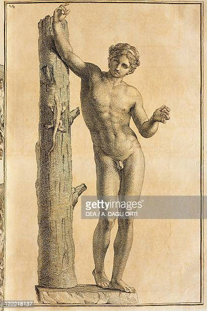 Apollo of Villa Borghese in Rome from Unpublished Monuments of Antiquity by Johann Joachim Winckelmann engraving 1767