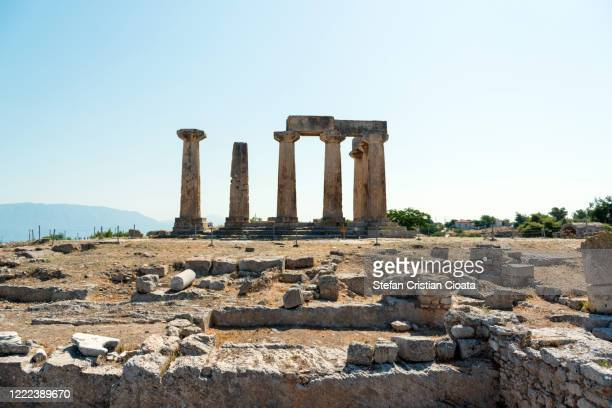 apollo temple corinth peloponnese greece - ruined stock pictures, royalty-free photos & images