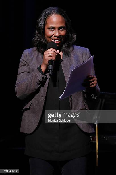 Apollo Theater's Executive Producer Kamilah Forbes speaks on stage at 'The First Noel' Sneak Peek at The Apollo Theater on November 16 2016 in New...
