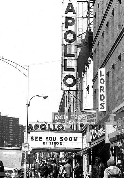 Apollo Theatre at 252 West 125th Street Harlem marquee advertises planned April reopening