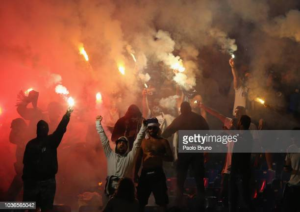 Apollon Limassol fans light fires during the UEFA Europa League Group H match between SS Lazio and Apollon Limassol at Stadio Olimpico on September...