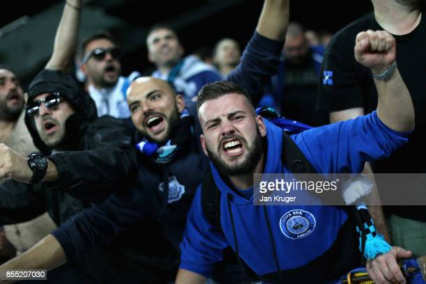Apollon Limassol fans show their support during the UEFA Europa League group E match between Everton FC and Apollon Limassol at Goodison Park on...