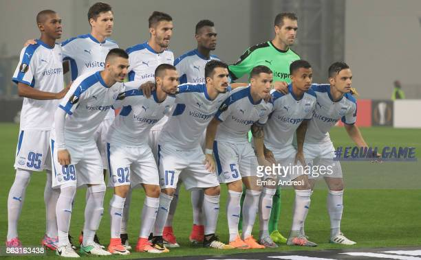 Apollon Limassol FC team line up before the UEFA Europa League group E match between Atalanta and Apollon Limassol at Mapei Stadium Citta' del...