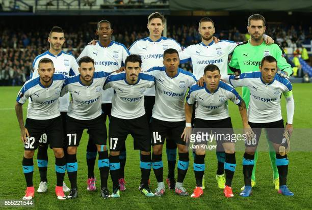 Apollon Limassol line up during the UEFA Europa League group E match between Everton FC and Apollon Limassol at Goodison Park on September 28 2017 in...