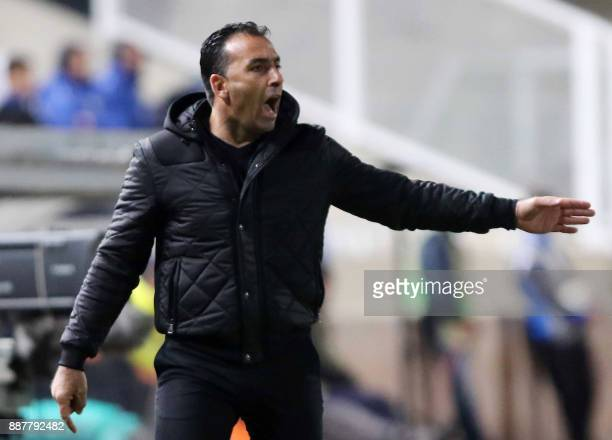 Apollon Limassol's head coach Sofronis Avgousti gestures during the UEFA Europa League group stage football match between Apollon Limassol and...