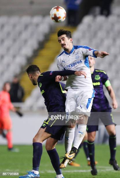 Apollon Limassol's Joao Pedro heads the ball during the UEFA Europa League group stage football match between Apollon Limassol and Everton at the GSP...