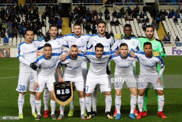 Apollon Limassol's players pose prior to the UEFA Europa League group stage football match between Apollon Limassol and Everton at the GSP stadium in...