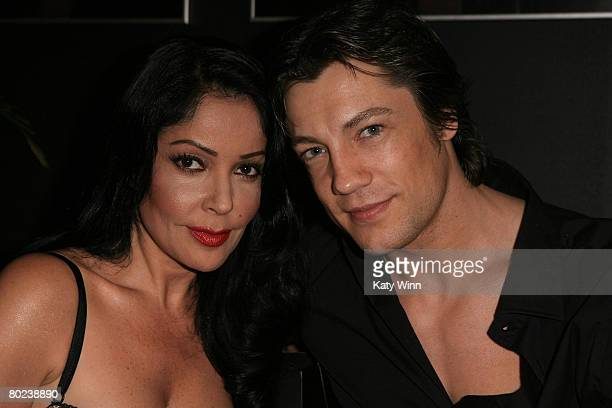 Apollonia Kotero and Emmanuel Delcour attend MercedesBenz Fashion Week held at Smashbox Studios on March 13 2008 in Culver City California