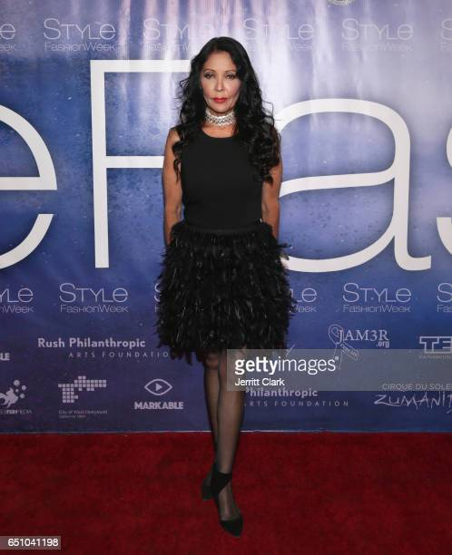 Apollonia Kotero attends Malan Breton's 3D Cinematic Runway Show at Style Fashion Week Los Angeles at Pacific Design Center on March 9 2017 in West...
