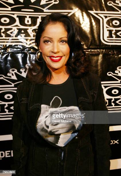 Apollonia wears a Madonna shirt as she attends the Polaroid Outkast Grammy After Party following the awards show on February 8 2004 in Los Angeles...