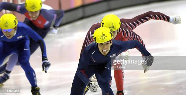 Apolo Anton Ohno during the Short Track Speed Skating 500 m at the 2006 Olympic Games held at the Palavela in Torino Italy on February 25 2006