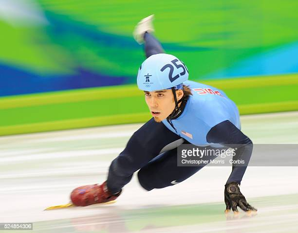 Apolo Anton Ohno in a heat prior to winning a silver medal in short track speed skating in the Mens 1500 meters at Pacific Coliseum on day 2 of the...