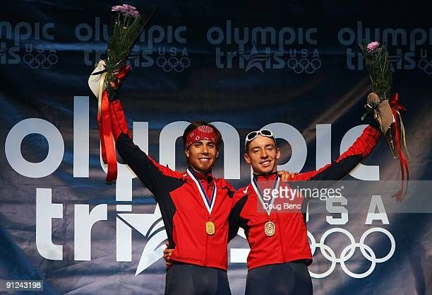 Apolo Anton Ohno L and Jordan Malone celebrate after finishing first and third respectively overall at the US Short Track Speedskating Championships...