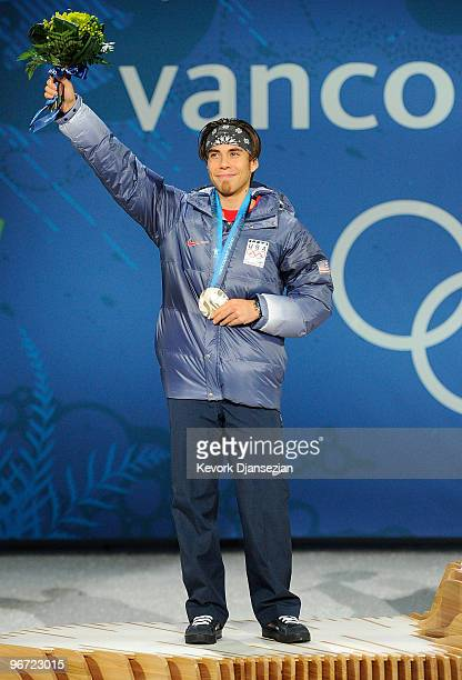 Apolo Anton Ohno of the United States celebrates with his silver medal during the medal ceremony for the Men�s 1500m short track skating final on day...