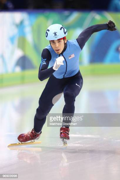 Apolo Anton Ohno of the United States competes during the Short Track Speed Skating Men's 1000m QuarterFinals on day 9 of the Vancouver 2010 Winter...