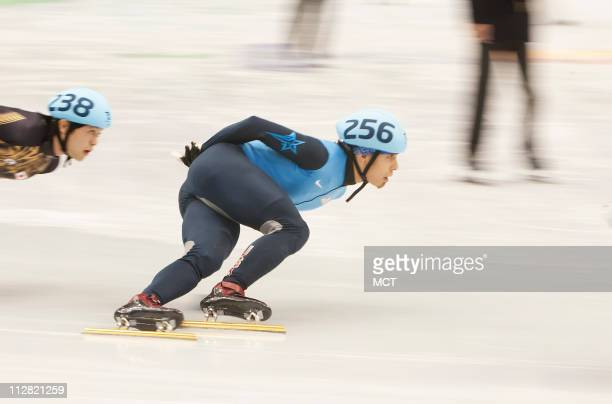 Apolo Anton Ohno of the United States skates in the semifinal of the men's 1500meter short track event on Saturday February 13 during the 2010 Winter...