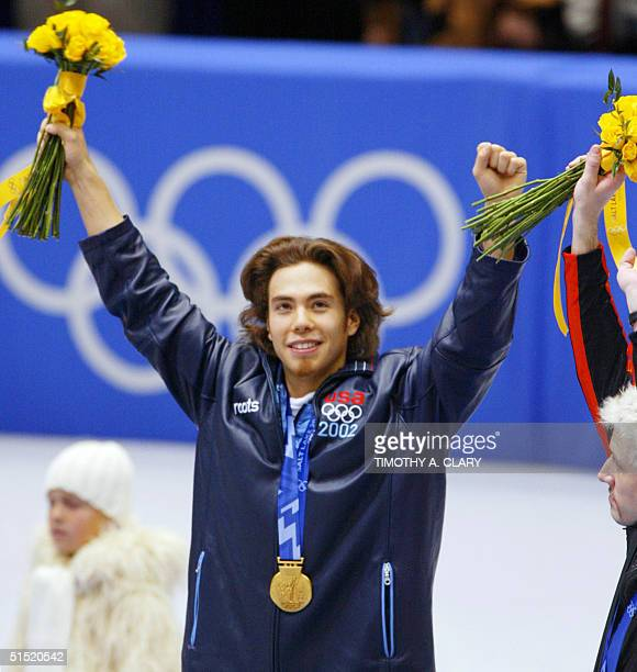 Apolo Anton Ohno of the US jubilates after winning the mens 1500m short track finals at the Olympic Ice Center 20 February 2002 during the XIXth...