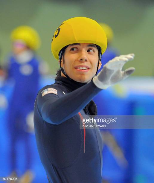 Apolo Anton Ohno of the US waves afterthe men's 5000m relay final at the 2008 World Short Track Speed Skating Championships at Gangneung on March 9...