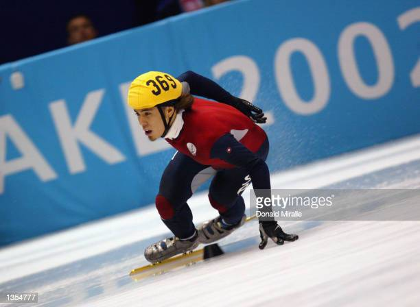 Apolo Anton Ohno of the USA competes in the men's 5000m short track relay during the Salt Lake City Winter Olympic Games on February 23 2002 at the...