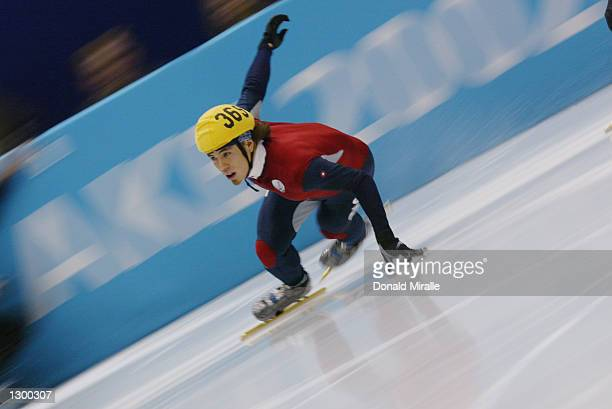 Apolo Anton Ohno of the USA competes in the men's 500m short track semifinal and was disqualified during the Salt Lake City Winter Olympic Games on...