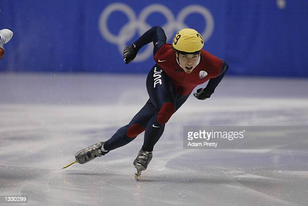 Apolo Anton Ohno of the USA competes in the men's 500m short track during the Salt Lake City Winter Olympic Games on February 23 2002 at the Salt...
