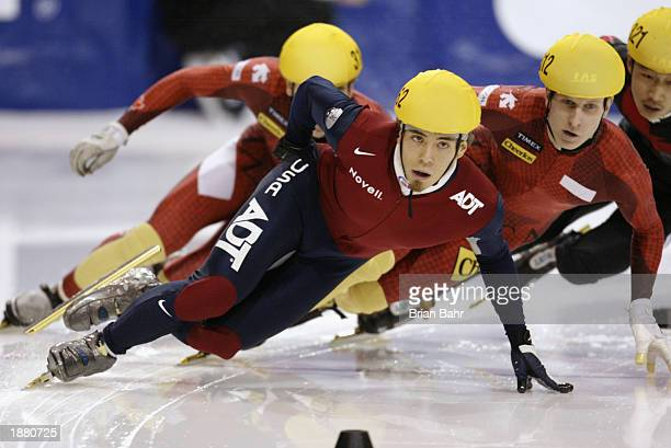Apolo Anton Ohno of the USA powers around a turn during the mens 1000 meter finals of the ISU Short Track Speedskating World Cup February 9 at the...