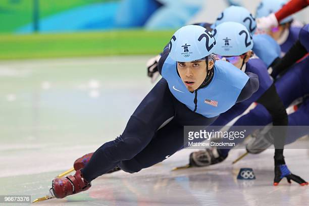 Apolo Anton Ohno of United States competes in 1500 m men's short track final on day 2 of the Vancouver 2010 Winter Olympics at Pacific Coliseum on...