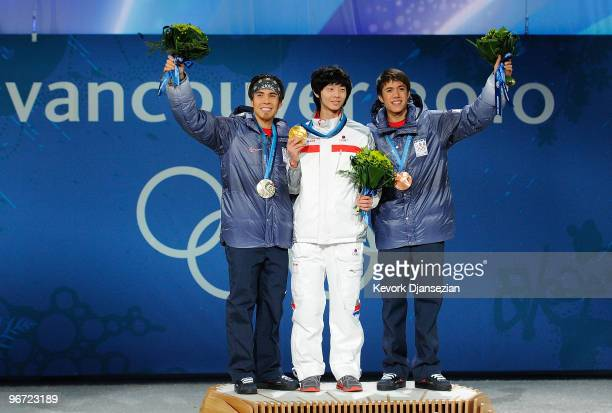Apolo Anton Ohno of United States JungSu Lee of South Korea and JR Celski of United States celebrate during the medal ceremony for the Men�s 1500m...
