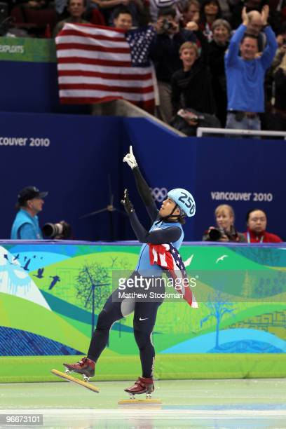 Apolo Anton Ohno of United States reacts after winning silver in 1500 m men's short track on day 2 of the Vancouver 2010 Winter Olympics at Pacific...
