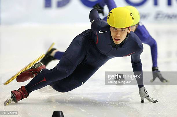 Apolo Anton Ohno of USA competes in the Men's 1000M quarter finals during day three of the 2008 ISU World Short Track Speed Skating Championships at...